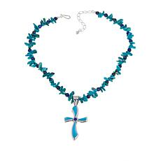 Jay King Turquoise and Lapis Cross Pendant-Necklace
