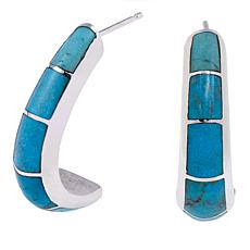 Jay King Turquoise Inlay J-Hoop Sterling Silver Earrings