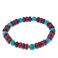 Jay King Turquoise, Lapis and Coral Stretch Bracelet