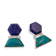 Jay King Tyrone Turquoise and Lapis Sterling Silver Earrings