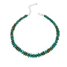"Jay King Tyrone Turquoise Chip 18-1/4"" Sterling Silver Necklace"
