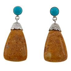 Jay King Yellow Alunite and Turquoise Drop Sterling Silver Earrings