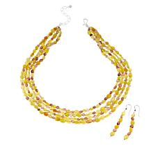 Jay King Yellow Opal and Strawberry Quartz Bead Necklace and Earrings