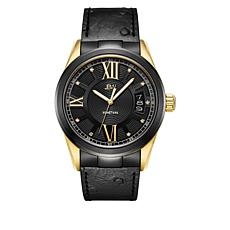 "JBW  ""Bond"" Men's 9-Diamond Goldtone Black Leather Watch"
