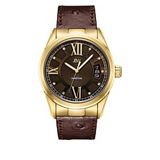 "JBW  ""Bond"" Men's 9-Diamond Goldtone Brown Leather Watch"