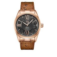 "JBW  ""Bond"" Men's 9-Diamond Rosetone Brown Leather Watch"