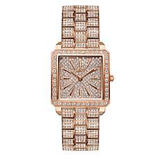 JBW Cristal Rose-Tone 12-Diamond & Crystal Square Dial Bracelet Watch
