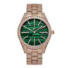 "JBW ""Cristal"" Women's Rosetone 12-Diamond Malachite Bracelet Watch"