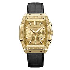 "JBW  ""Echelon"" Men's Goldtone .28ctw Croco-Embossed Leather Watch"