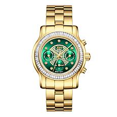 "JBW ""Laurel"" 9-Diamond Green Dial Goldtone Stainless Steel Watch"