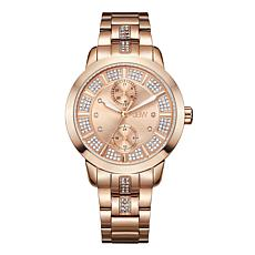 "JBW ""Lumen"" Rosetone Stainless Steel Women's 6-Diamond Watch"