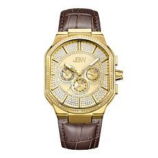JBW Men's Orion 18K Gold-Plated Watch with Brown Leather Band