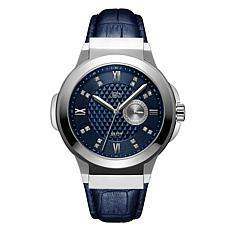 "JBW Men's ""Saxon"" 16-Diamond Silvertone Blue Leather Watch"