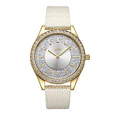 "JBW ""Mondrian"" 12-Diamond Goldtone Stainless Steel White Leather Watch"