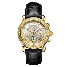 "JBW ""Victory"" 16-Diamond Black Leather Chronograph Watch"