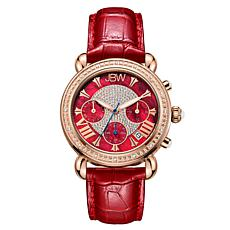 "JBW ""Victory"" Women's 0.16ctw Diamond Red Leather Chronograph Watch"