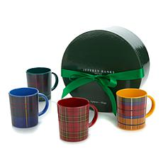 Jeffrey Banks Designer Plaid Set of 4 Melamine Mugs