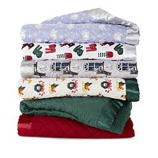 Jeffrey Banks Down Alternative Holiday Blanket with Satin Trim