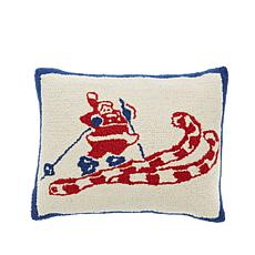 Jeffrey Banks Skiing Santa Hand-Hooked Wool Pillow