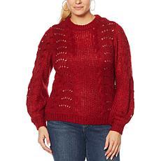 Jessica Simpson Crew-Neck Pointelle Pullover Sweater
