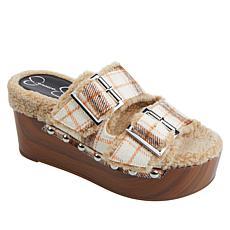 Jessica Simpson Cyriss Faux Shearling Platform Slide Sandal