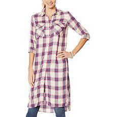 Jessica Simpson Lori Button Down Plaid Duster Shirt