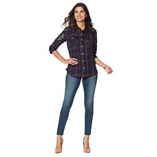 Jessica Simpson Petunia Embellished Plaid Shirt