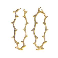 Jewels by Jen 1.80ctw CZ Branch-Design Hoop Earrings