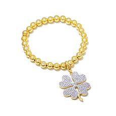 Jewels by Jen Beaded Stretch Bracelet with 4-Leaf Charm
