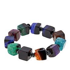 "JK NY Agate Multi-Color Agate Cube 7"" Stretch Bracelet"
