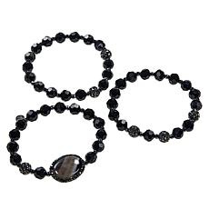 JK NY Agate Station Colored Bead 3-piece Stretch Bracelet Set