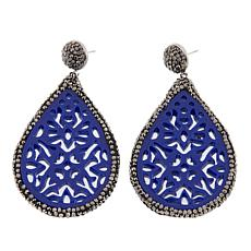 JK NY Colored Resin Teardrop Pavé Earrings