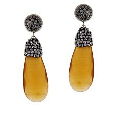 JK NY Faceted Pear Stone  Pavé Drop Earrings