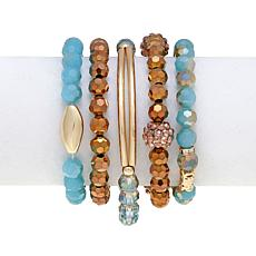 "Jo + le ""Ocean Tides"" Faceted Bead Set of 5 Bracelets"