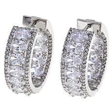 Joan Boyce Clear Oval and Pavé Hoop Earrings
