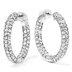 "Joan Boyce Crystal Inside Out Skinny 1"" Hoop Earrings"