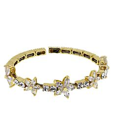 Joan Boyce Cubic Zirconia and Crystal Flower Station Bracelet
