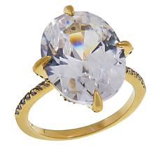 Joan Boyce Cubic Zirconia Oval with Pavé Sides Ring