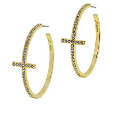Joan Boyce Cubic Zirconia Pavé Cross Hoop Earrings