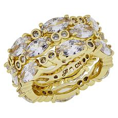 Joan Boyce Cubic Zirconia Round and Marquise Stone 3-piece Ring Set