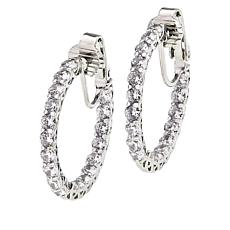 Joan Boyce Cubic Zirconia Round Stone Inside-Outside Hoop Earrings
