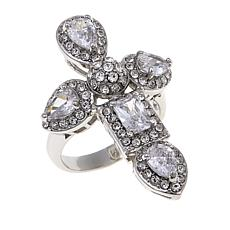 Joan Boyce CZ and Crystal Cross Station Ring