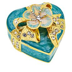 Joan Boyce Enamel Heart Flower Trinket Box