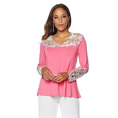 Joan Boyce Lace Detailed Long Sleeve Top