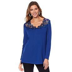 Joan Boyce Lace Detailed Reversible Long-Sleeve Top
