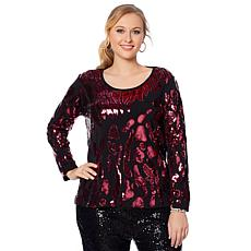 Joan Boyce Long-Sleeve Metallic Leaves Sequin Top