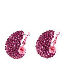 Joan Boyce Pink Crystal Metallic Pink Pavé Hoop Earrings