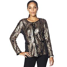 Joan Boyce Ponte Long-Sleeve Sequin Jacket