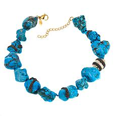 "Joan Boyce Taylor's ""Rock Island"" Simulated Turquoise Nugget Necklace"