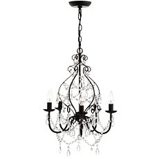 "JONATHAN Y Black Maura 17"" 5-Light Crystal and Metal LED Chandelier"